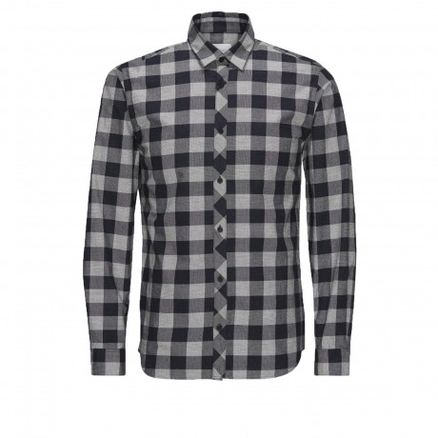Jack & Jones James Check Shirt Long Sleeve Blanc De Blanc   Jean Scene