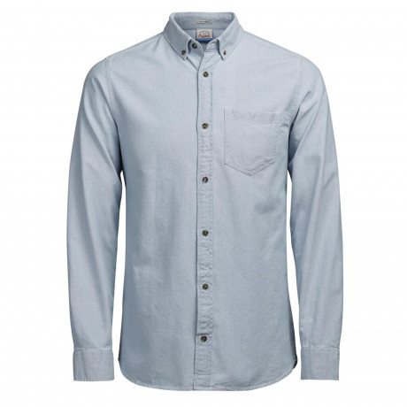 Jack & Jones Originals Ford Cotton Shirt Long Sleeve Light Blue Blue | Jean Scene
