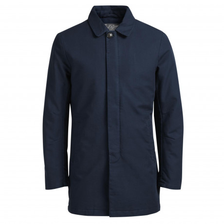 Jack & Jones Mac Cotton Overcoat Jacket Navy Blue | Jean Scene