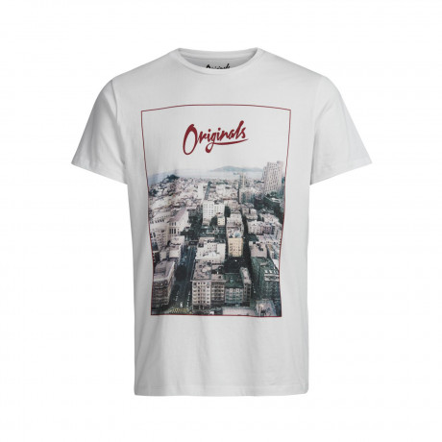 Jack & Jones Originals Crew Neck Fun Box Print T-shirt Cloud Dancer | Jean Scene