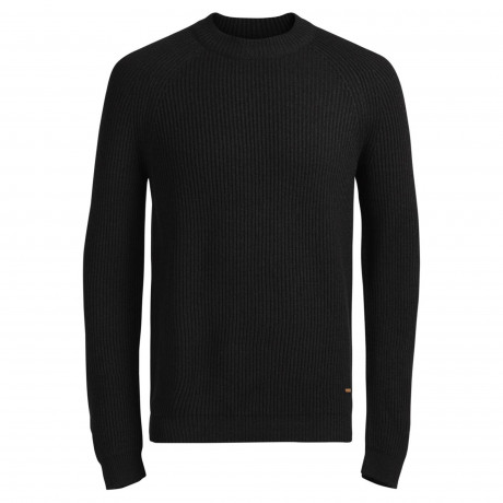 Jack & Jones Anvarton Crew Neck Wool Blend Jumper Black | Jean Scene