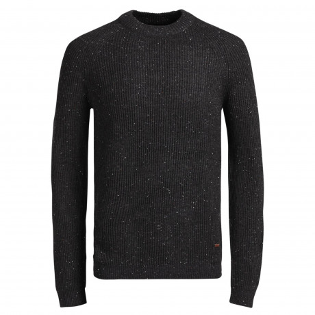 Jack & Jones Anvarton Crew Neck Wool Blend Jumper Dark Grey | Jean Scene