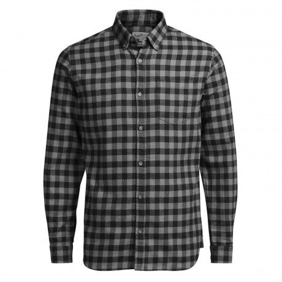 Jack & Jones Originals William Check Shirt Long Sleeve Grey Melange | Jean Scene
