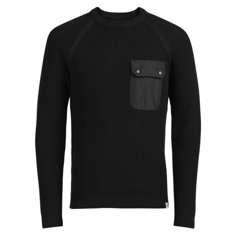 Jack & Jones Men's Houston Ribbed Knit Jumper Black | Jean Scene