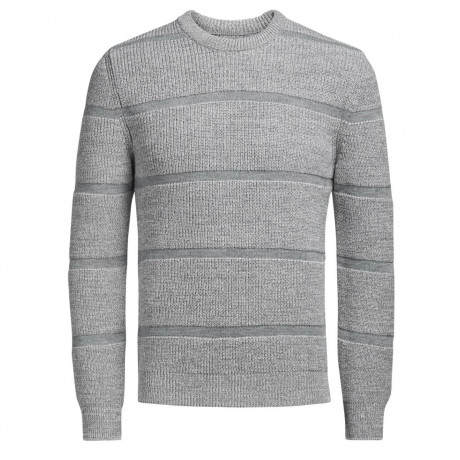 Jack & Jones Durham Crew Neck Cotton Blend Jumper Light Grey | Jean Scene