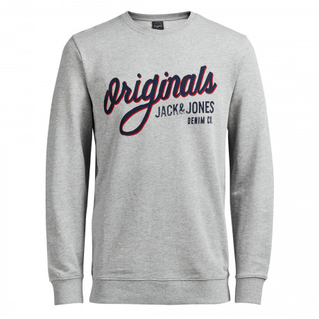 Jack & Jones Originals Men's Type Logo Sweatshirt Light Grey | Jean Scene