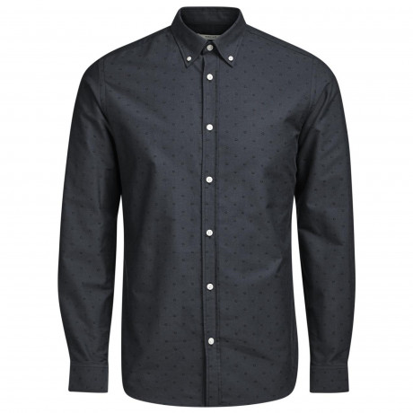 Jack & Jones Premium Panama Shirt Long Sleeve Dark Grey | Jean Scene