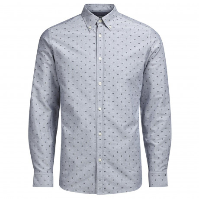 Jack & Jones Premium Panama Shirt Long Sleeve Light Grey | Jean Scene