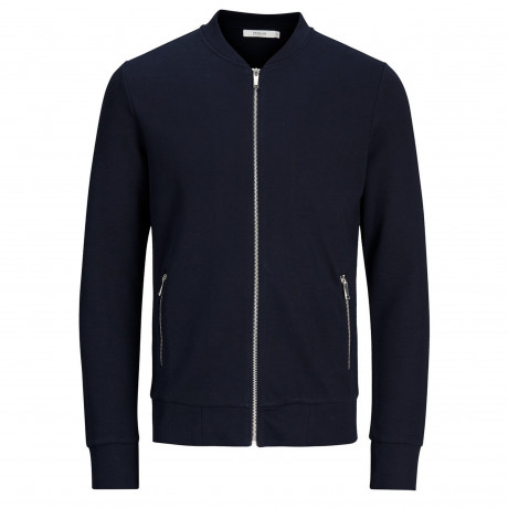 Jack & Jones Premium Zip Up Baseball Sweater Dark Navy | Jean Scene