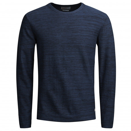 Jack & Jones Crew Neck Cotton Fargo Jumper Ensign Blue | Jean Scene
