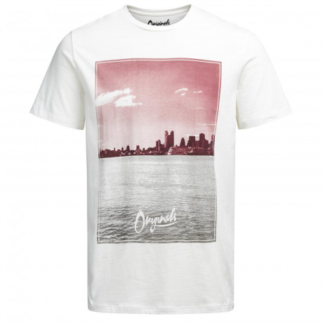 Jack & Jones Originals Crew Neck Preen Print T-shirt Cloud Dancer Red | Jean Scene