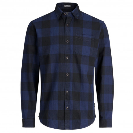 Jack & Jones Originals Slim Frisk Long Sleeve Shirt Peacoat | Jean Scene