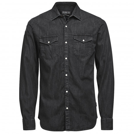 Jack & Jones Originals Slim Denim Long Sleeve Shirt Black | Jean Scene