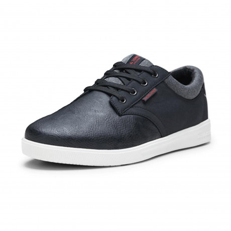 Jack & Jones Men's Gaston Low PU Leather Shoes Shoes Anthracite Black | Jean Scene