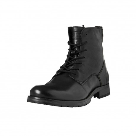 Jack & Jones Mens High Leather Orca High Biker Boots Black Shoes | Jean Scene