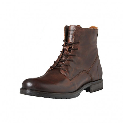 Jack & Jones Mens High Leather Orca High Biker Boots Brown Stone Shoes   Jean Scene