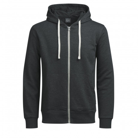 Jack & Jones Zip Up Men's Holmen Hoodie Dark Grey | Jean Scene