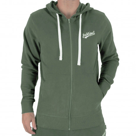 Jack & Jones Zip Up Men's Mills Hoodie Thyme | Jean Scene