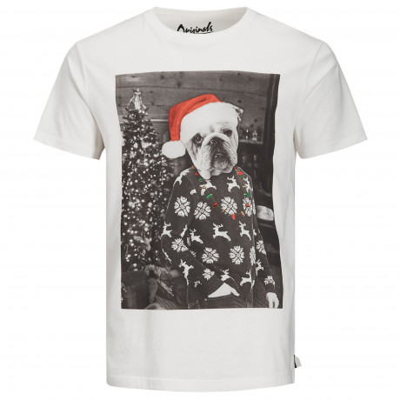 Jack & Jones Crew Neck Knock Dog Christmas Print T-shirt Cloud Dancer | Jean Scene