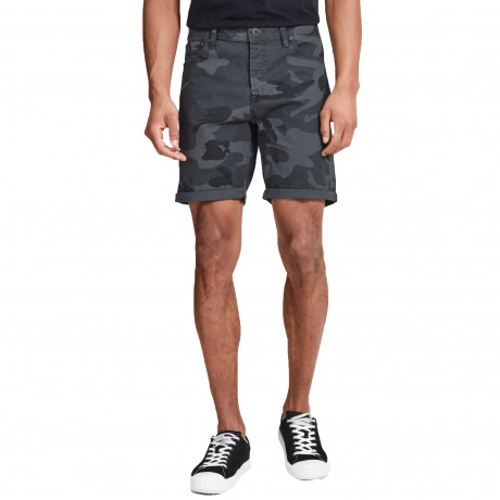 Jack & Jones Men's Rick Chino Stretch Shorts Dark Grey Camo | Jean Scene