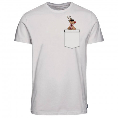 Jack & Jones Crew Neck Chimney Pocket Christmas Print T-shirt Cloud Dancer   Jean Scene