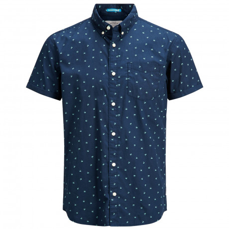 Jack & Jones Originals Regular Cambridge Short Sleeve Shirt Dark Denim | Jean Scene