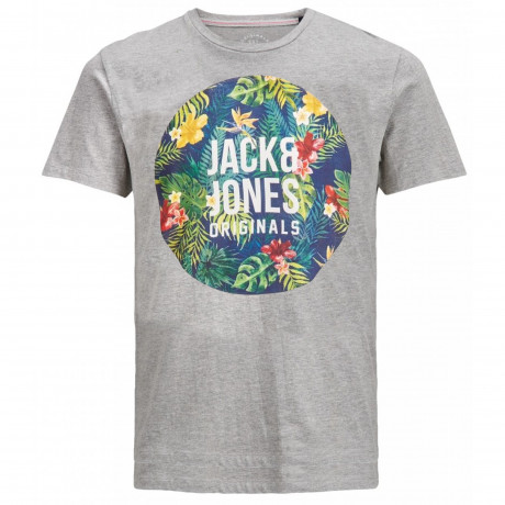 Jack & Jones Original Crew Neck Rain Print T-shirt Light Grey | Jean Scene