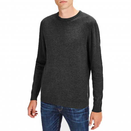 Jack & Jones Crew Neck Cotton Knit Jumper Dark Grey | Jean Scene