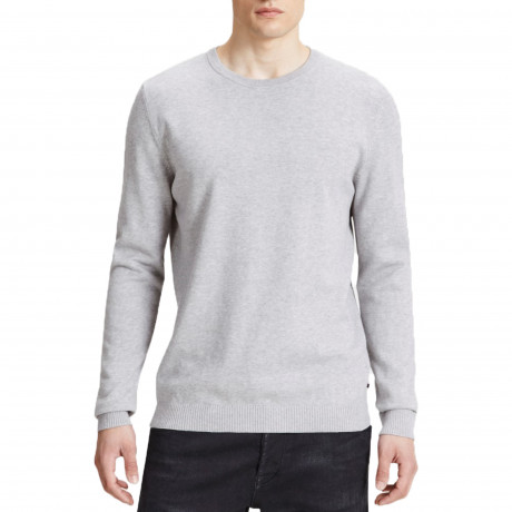 Jack & Jones Crew Neck Cotton Knit Jumper Light Grey | Jean Scene