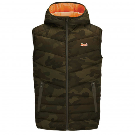 Jack & Jones Light Puffer Gilet Forest Camo | Jean Scene