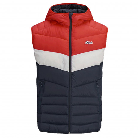 Jack & Jones Light Puffer Gilet Scarlet Block | Jean Scene