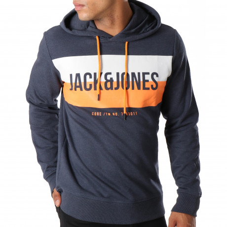 Jack & Jones Overhead Men's Block Hoodie Sky Captain | Jean Scene