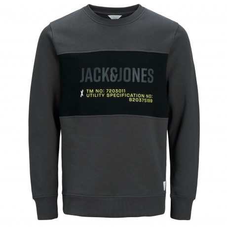 Jack & Jones Crew Neck Men's Port Sweatshirt Asphalt | Jean Scene