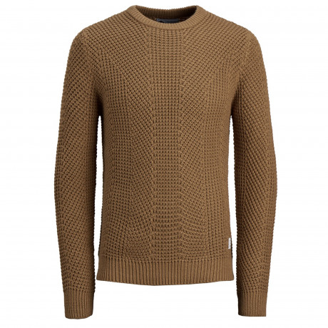 Jack & Jones Crew Neck Cotton Stanford Jumper Chipmunk | Jean Scene