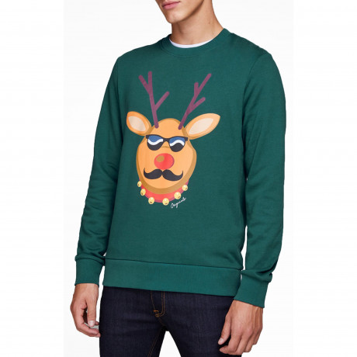 Christmas Jumper Sweatshirt Krittermas Reindeer Bling Deep Teal | Jean Scene