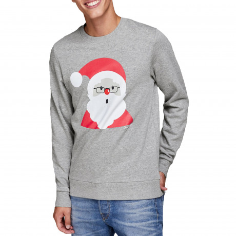 Christmas Jumper Sweatshirt Krittermas Geeky Santa Light Grey | Jean Scene