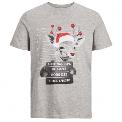 Jack & Jones Crew Neck Jail Photo Reindeer Christmas Print T-shirt Light Grey | Jean Scene