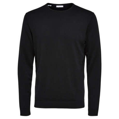 Selected Crew Neck Cotton Tower Jumper Black | Jean Scene