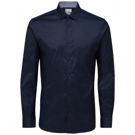 Selected Slim Mark Long Sleeve Shirt Navy Blazer | Jean Scene