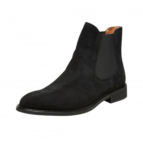 Selected Mens Baxter Suede Leather Chelsea Boots Boots Black | Jean Scene