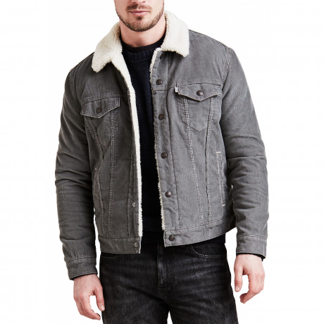 Levis Type 3 Sherpa Men's Jacket Pewter Cord | Jean Scene