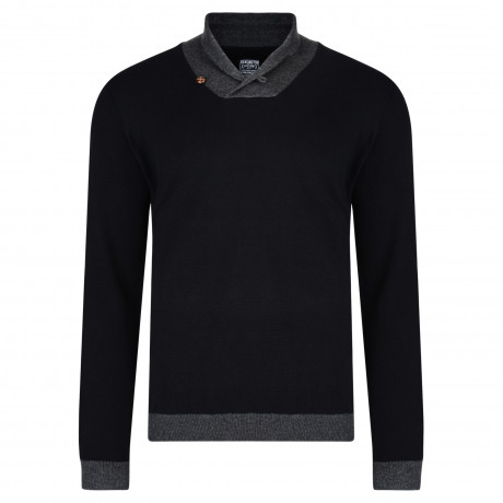 Kensington Eastside Shawl Neck Stanbury Knit Jumper Black
