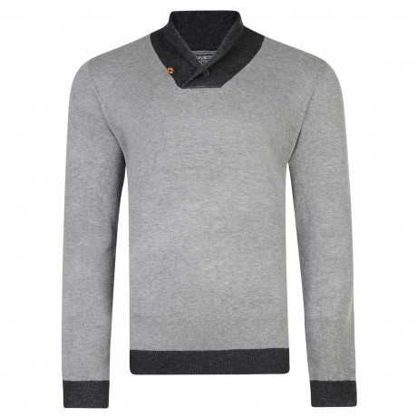 Kensington Eastside Men's Shawl Neck Stanbury Knit Jumper Mid Grey Marl | Jean Scene