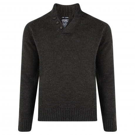 Kensington Button V Neck Wool Blend Jumper Grey | Jean Scene