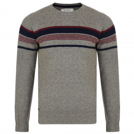 Old Boys Network Men's Lambswool Barton Knit Jumper Rope Marl | Jean Scene
