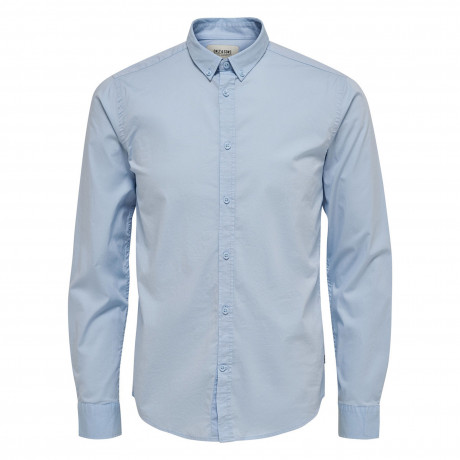Only & Sons Albiol Plain Shirt Long Sleeve Cashmere Blue | Jean Scene
