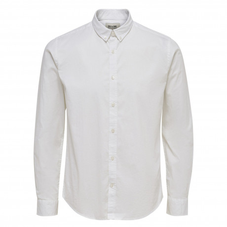 Only & Sons Albiol Plain Shirt Long Sleeve White | Jean Scene