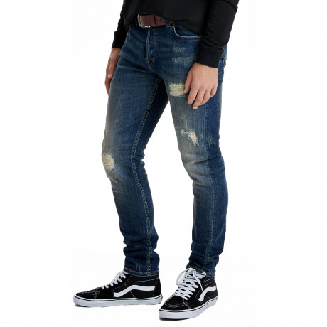 Only & Sons Loom Vintage Ripped Slim Fit Denim Jeans Mid Blue | Jean Scene