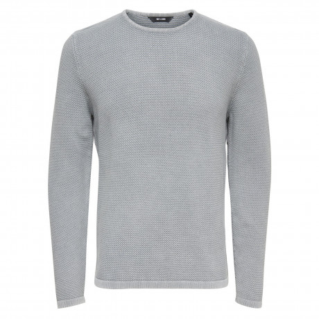 Only & Sons Crew Neck Cotton Hugh Jumper Light Grey Melange | Jean Scene