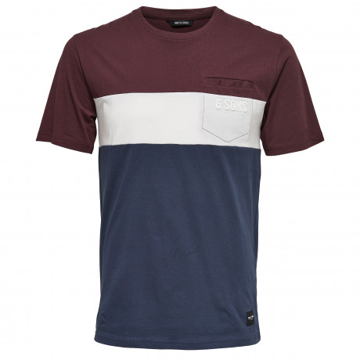 Only & Sons Anatolie Pocket Stripe Summer T-shirt Fudge | Jean Scene